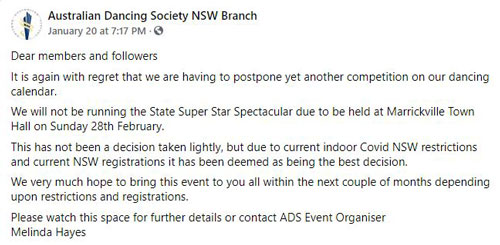 ADS NSW branch competition changes