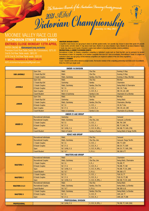 ADS Victorian Championship syllabus