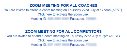 Open meetings for all DSA Coaches and Competitors will be conducted on Thursday 22nd July 2021.