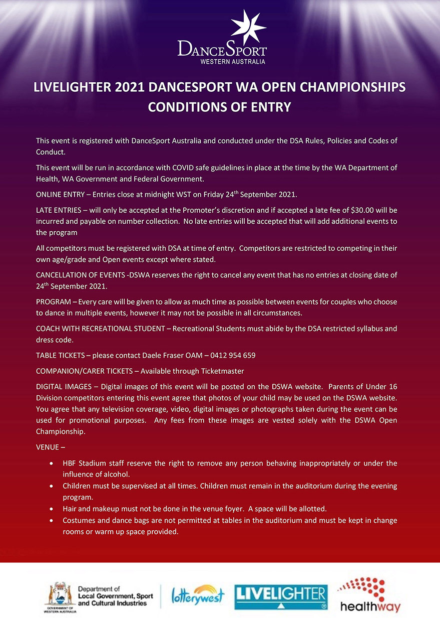 2021 WA Open Conditions of Entry