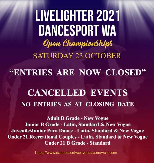 2021 LiveLighter DanceSport WA Open Cancelled Events