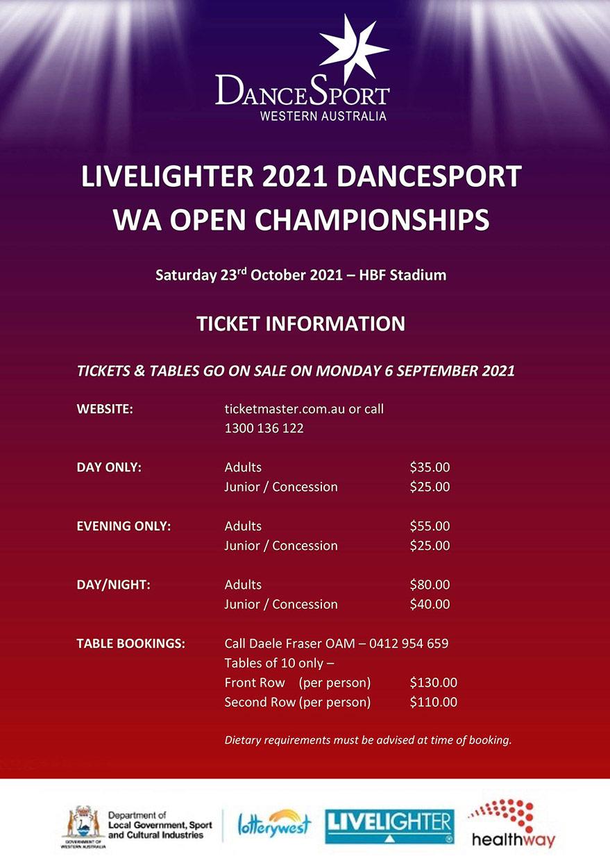 2021 WA Open Ticket Sales