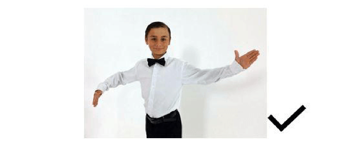 Dress restrictions on shirts for juvenile boys in Dancesport