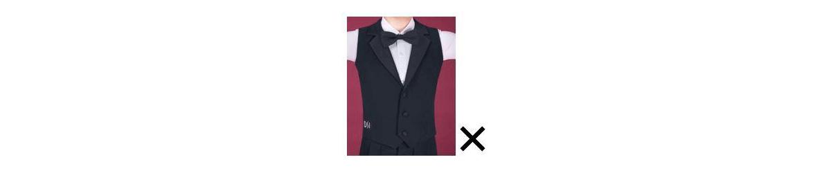 Dress restrictions on vests for juvenile boys in Dancesport