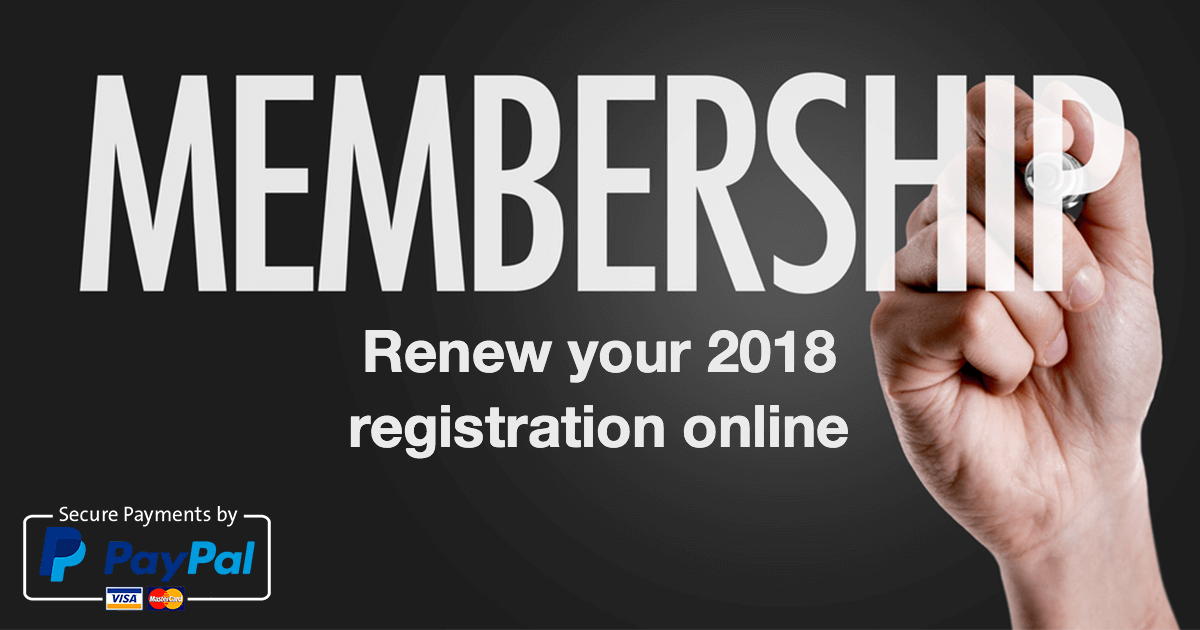 Renewing Your 2018 Registration Online – via your credit card or Pay Pal account