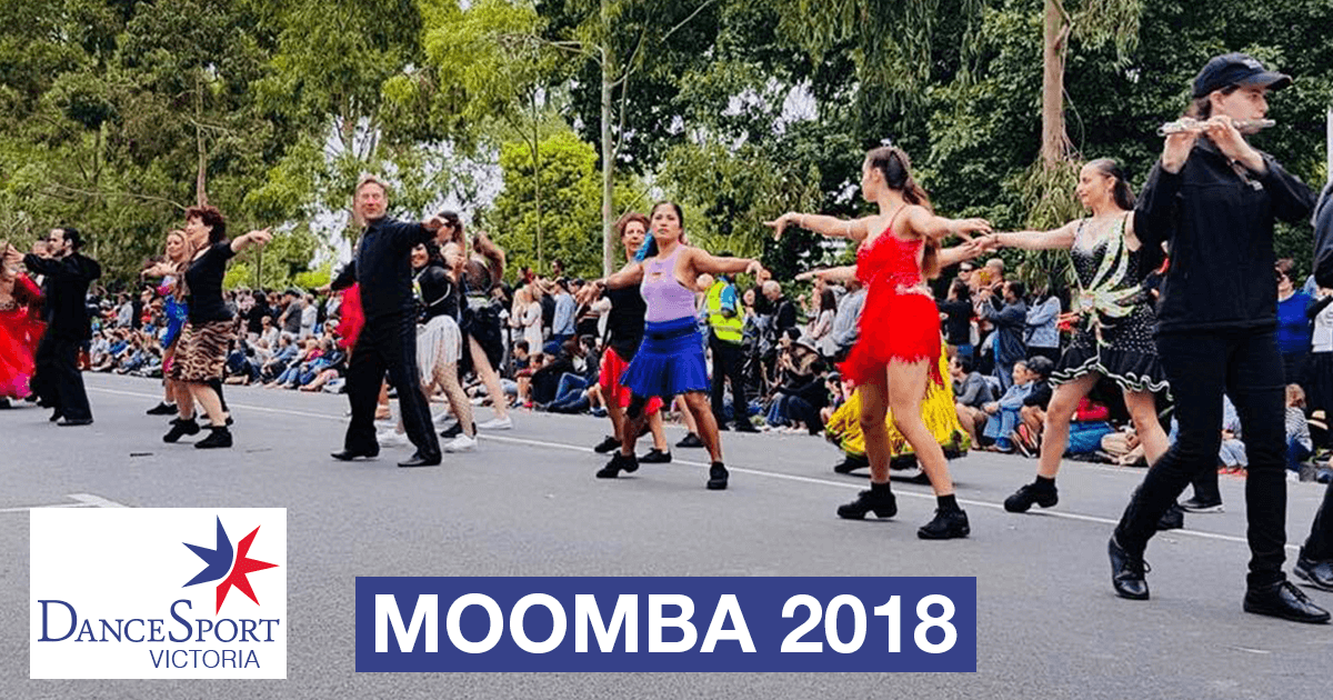 Great energy from the back section DanceSport Victoria Moomba Parade 2018