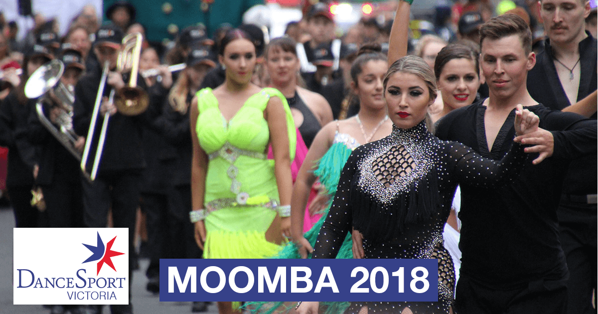Front section getting ready to start out in the DanceSport Victoria Moomba Parade 2018
