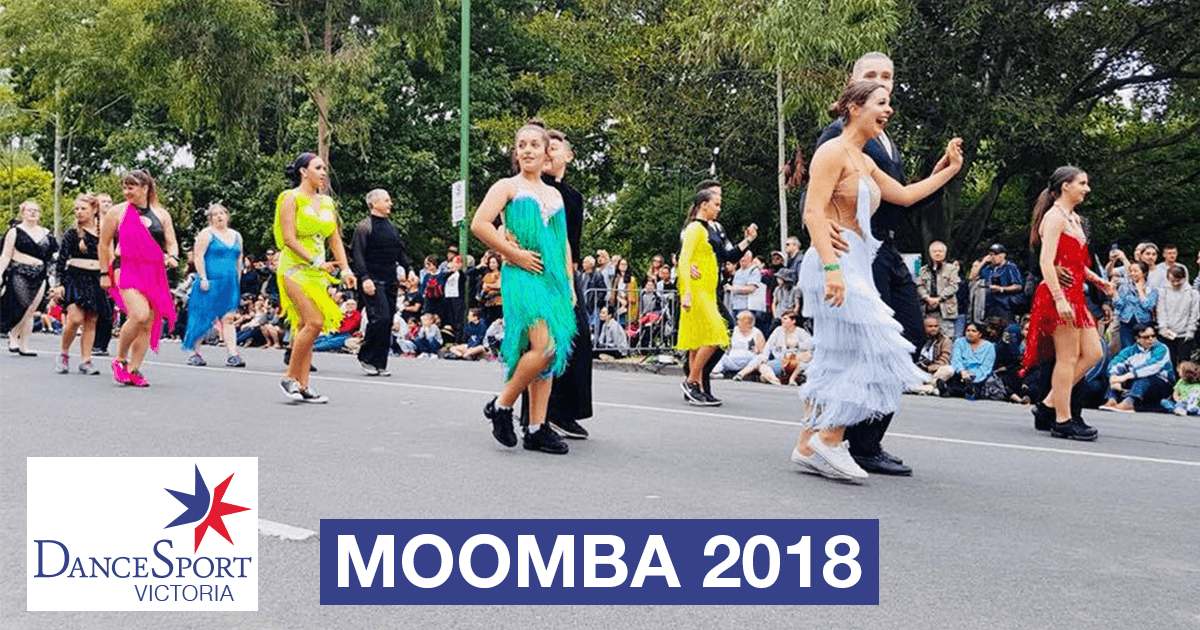 Lots of bright colors in the front section DanceSport Victoria Moomba Parade 2018