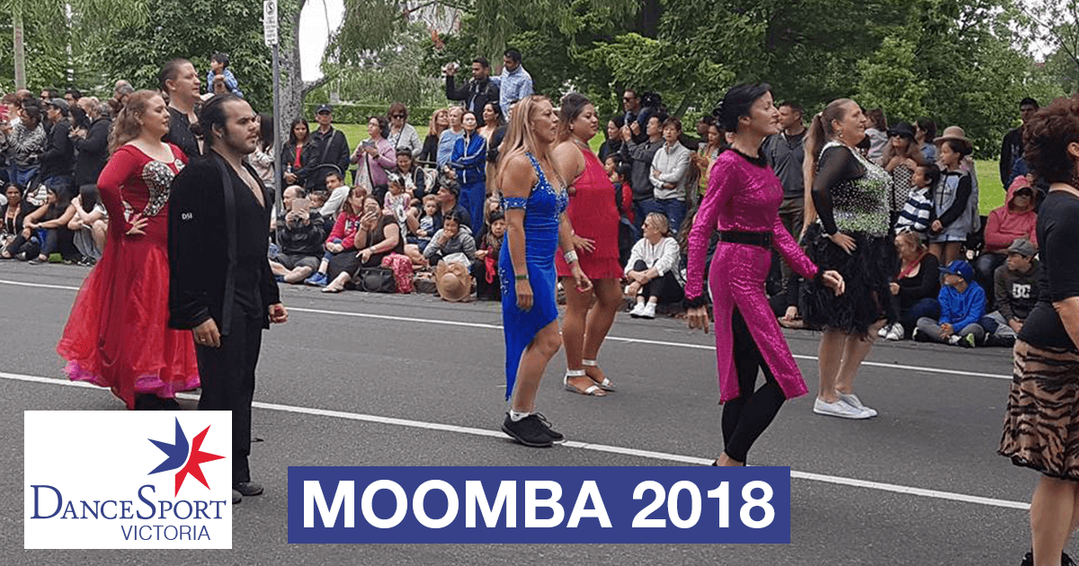 Back  section getting ready to start out in the DanceSport Victoria Moomba Parade 2018