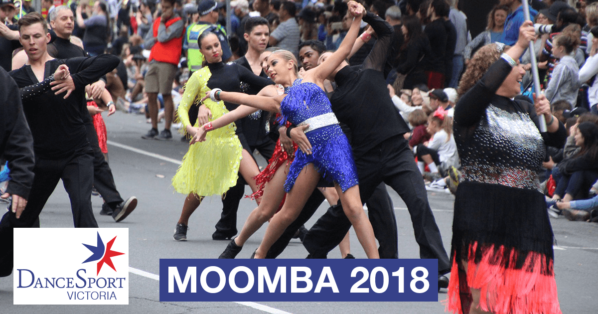 Front section showing off to the crowd in the DanceSport Victoria Moomba Parade 2018