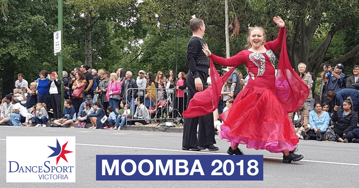 Waving to the crowd in the DanceSport Victoria Moomba Parade 2018