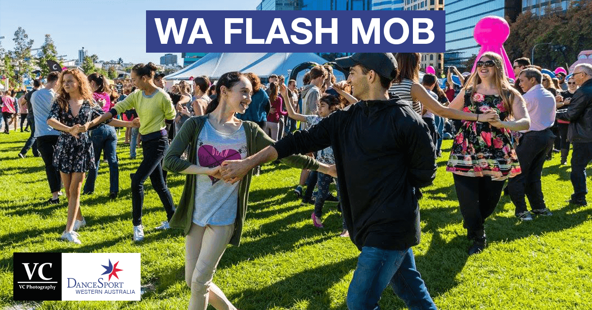 Big smiles at the Flash Mob June 2017 from DanceSport Western Australia